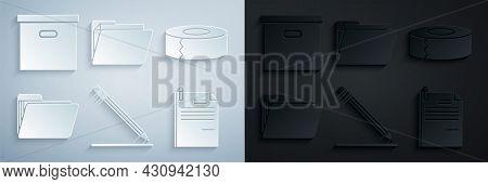 Set Pencil With Eraser And Line, Scotch, Document Folder, File Document Paper Clip, And Carton Cardb