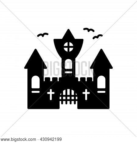 Vampire Dracula Castle Silhouette Icon. Halloween Gothic Spooky Castle Glyph Pictogram. Scary Dark O
