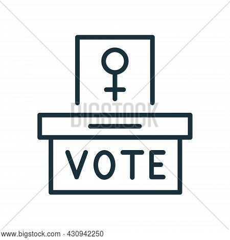Woman Vote Right Line Icon. Female Sign On Ballot Linear Pictogram. Ballot Container With Women Voti