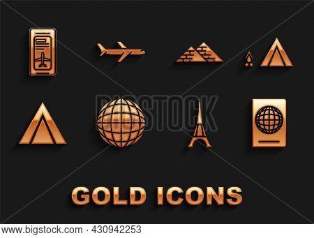 Set Earth Globe, Tourist Tent With Wood Fire, Passport Biometric Data, Eiffel Tower, Egypt Pyramids,