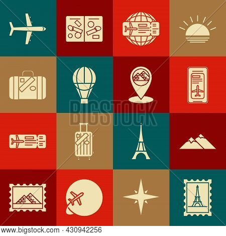 Set Postal Stamp And Eiffel Tower, Smartphone With Electronic Boarding Pass Airline Ticket, Airline,