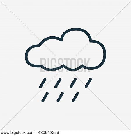 Rain Linear Icon. Cloudy And Rainy Weather. Heavy Shower Or Downpour Line Pictogram. Raindrop And Cl