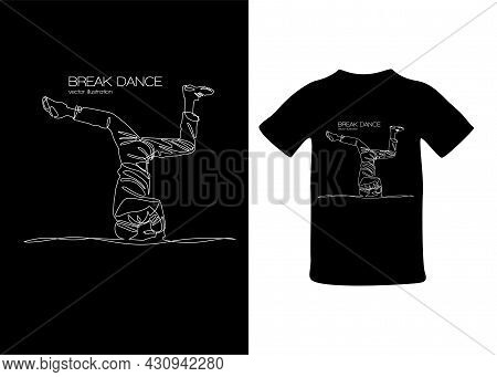 T-shirt Print Break Dancer Stands On His Head Vector Illustration Continuous Curve Line Hip Hop Styl