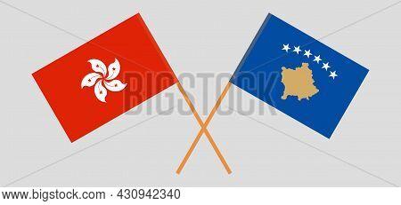 Crossed Flags Of Kosovo And Hong Kong