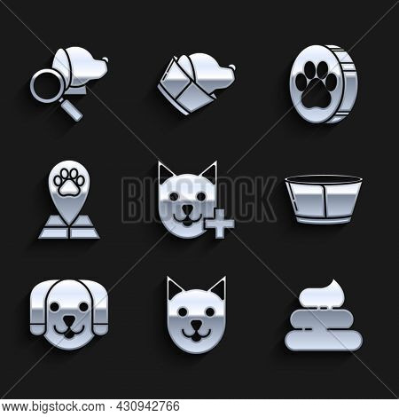 Set Veterinary Clinic Symbol, Cat, Shit, Protective Cone Collar, Dog, Map Pointer With Veterinary Me
