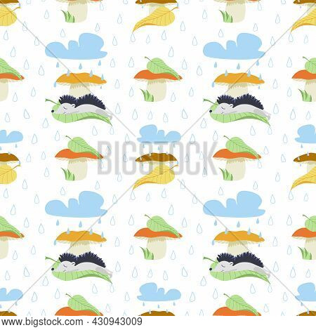 Vector Autumn Seamless Pattern With Mushrooms, Hedgehog Character, Leaves, Clouds And Raindrops. A C