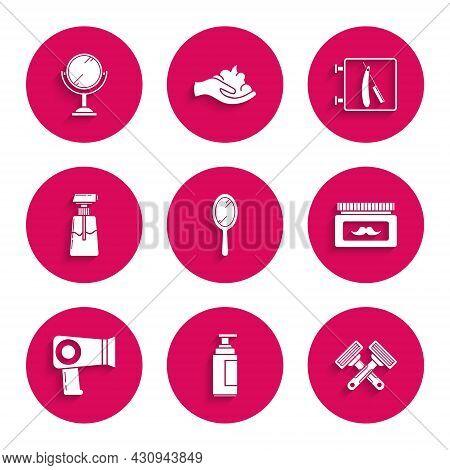 Set Hand Mirror, Cream Lotion Cosmetic Tube, Crossed Shaving Razor, Jar, Hair Dryer, Barbershop With