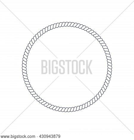 Circle Rope Frame For Photo Or Picture In Retro Yacht Style. Nautical Design Element For Print And D