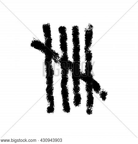Charcoal Tally Mark. Hand Drawn Sticks Sorted By Four And Crossed Out By Slash Line. Day Counting Sy