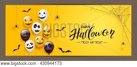 Spider On Spiderweb, Bats And Set Of Orange, White, Black Balloons With Scary Smiles Isolated On Yel