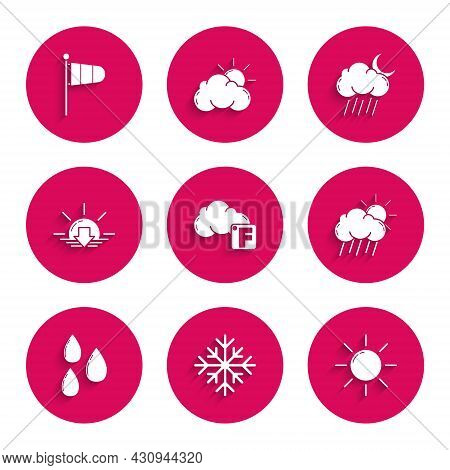 Set Fahrenheit And Cloud, Snowflake, Sun, Cloud With Rain Sun, Water Drop, Sunset, Moon And Cone Met