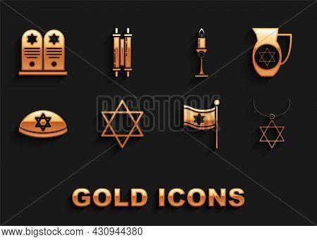 Set Star Of David, Decanter With Star David, Necklace On Chain, Flag Israel, Jewish Kippah, Burning