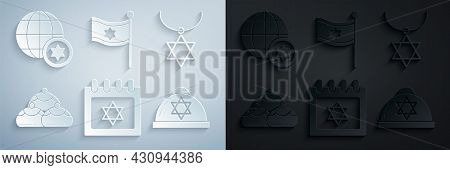 Set Jewish Calendar With Star Of David, Star David Necklace On Chain, Sweet Bakery, Kippah, Flag Isr