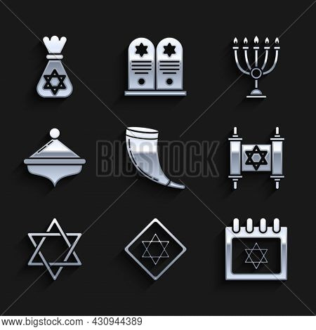 Set Traditional Ram Horn, Shofar, Star David, Jewish Calendar With Star David, Torah Scroll, Hanukka