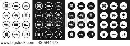 Set Pickup Truck, Retro Minivan, Hatchback Car, School Bus, Hot Air Balloon, Train, Cargo Ship And D