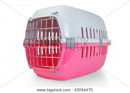 Cage for transporting pets cats dogs. With the door closed. poster