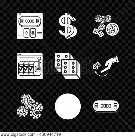 Set Online Poker Table Game, Dollar Symbol, Casino Chips, Dice And Glass Of Whiskey With Ice Cubes,