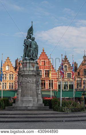 Brugge, Flanders, Belgium - August 4, 2021: Flemish Freedom Fighters Jan Breydel And Pieter De Conin