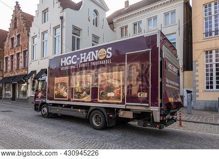 Brugge, Flanders, Belgium - August 4, 2021: Closeup Of Hgc Interntional Horeca Distributor Wholesale