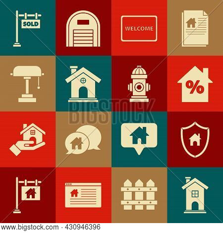 Set Home Symbol, House With Shield, Percant Discount Tag, Doormat The Text Welcome, Table Lamp, Hang