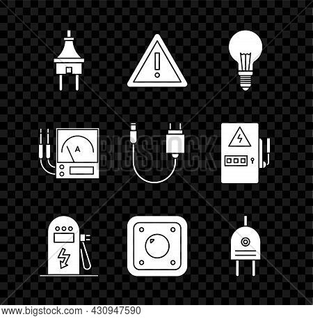 Set Electric Plug, Exclamation Mark In Triangle, Light Bulb With Concept Of Idea, Car Charging Stati