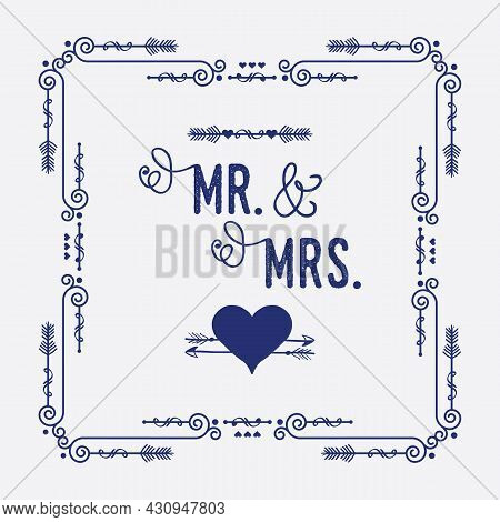 Navy Blue Swirl Art Deco Square Border Frame Pattern Greeting Card With Words Mr. And Mrs. Cute Hear
