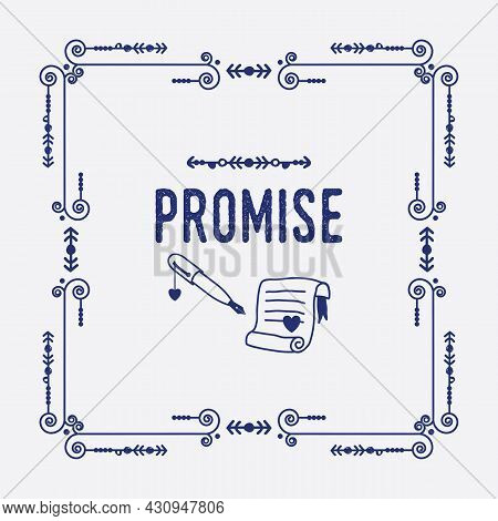 Navy Blue Swirl Art Deco Square Border Frame Pattern Greeting Card With Word Promise, Paper, Ink Pen