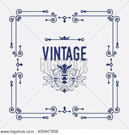 Navy Blue Swirl Art Deco Square Border Frame Pattern Greeting Card With Word Vintage And Cute Floral
