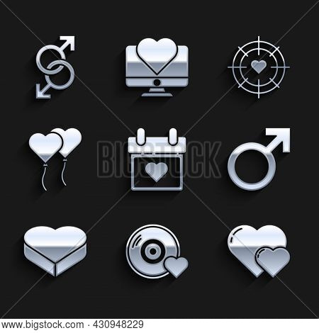 Set Calendar With Heart, Romantic Music, Heart, Male Gender Symbol, Candy In Shaped Box, Balloons Fo