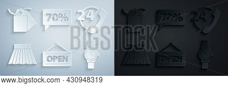 Set Hanging Sign With Open, Telephone 24 Hours Support, Skirt, Wrist Watch, Seventy Discount Percent