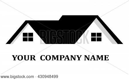 Vector. House Roof Logo For Real Estate, Construction Company, Builder. Shows Gable Roof.