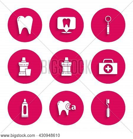 Set Mouthwash Plastic Bottle, Calcium For Tooth, Toothbrush, First Aid Kit, Tube Of Toothpaste, Dent
