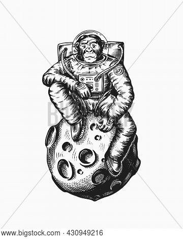 Monkey Astronaut Sitting On The Moon. Chimpanzee Spaceman Cosmonaut. Fashionable Animal Character. H
