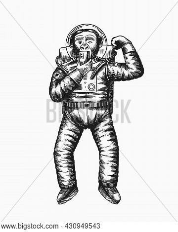 Monkey Astronaut Takes Selfies And Plays With Muscles.. Chimpanzee Spaceman Cosmonaut Character. Fas