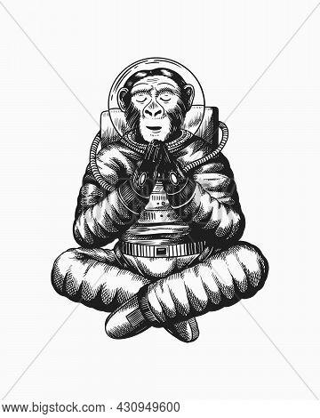 Monkey Astronaut Meditates In A Yoga Pose. Chimpanzee Spaceman Cosmonaut Character. Fashionable Anim