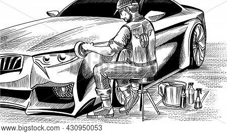 A Man Polishing The Hood Of An Automobile. Auto Detailing. Dry Cleaning Machine. Vehicle Service Or