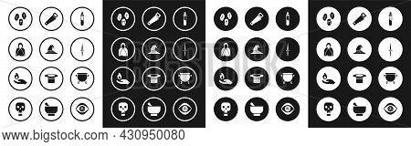 Set Bottle With Love Potion, Witch Hat, Mantle, Cloak, Cape, Magic Runes, Dagger, Hand Saw, Cauldron