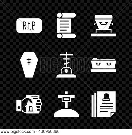 Set Speech Bubble Rip Death, Decree, Parchment, Scroll, Coffin, Death Certificate Hand, Grave With C