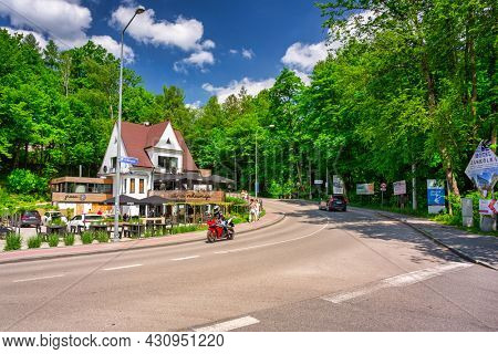 Ustron, Poland - June 3, 2021: Summer scenery of the Ustron town in Silesian Beskids. Poland