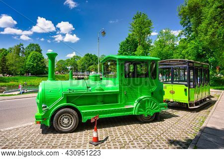 Ustron, Poland - June 3, 2021: Tourist train in Ustron town on the hills of the Silesian Beskids. Poland