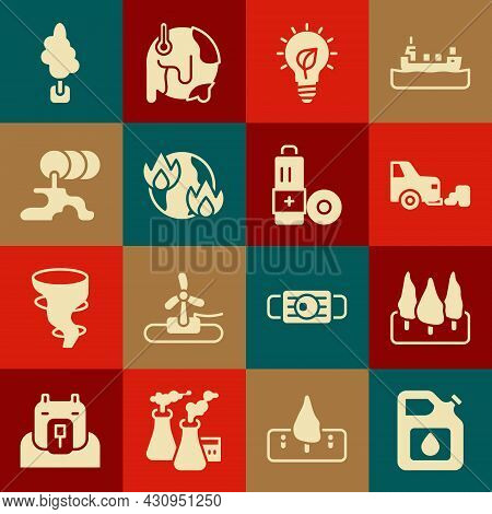 Set Canister For Gasoline, Forest, Car Exhaust, Light Bulb With Leaf, Global Warming Fire, Barrel Oi