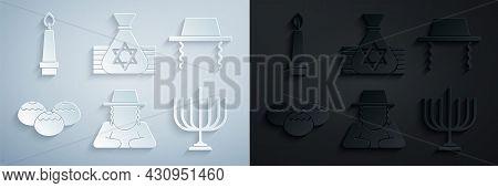 Set Orthodox Jewish Hat, Jewish Sweet Bakery, Hanukkah Menorah, Money Bag And Burning Candle Icon. V