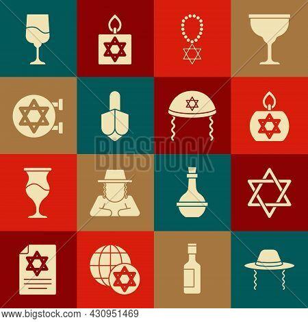 Set Orthodox Jewish Hat, Star Of David, Burning Candle, Necklace On Chain, Hanukkah Dreidel, Jewish