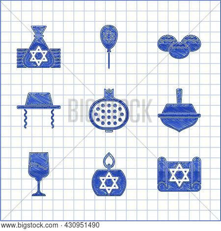 Set Pomegranate, Burning Candle, Torah Scroll, Hanukkah Dreidel, Jewish Goblet, Orthodox Jewish Hat,