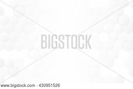 Hexagon Background. Minimal Light Design. White Neutral Honeycomb Backdrop. Clean Web Template. Simp