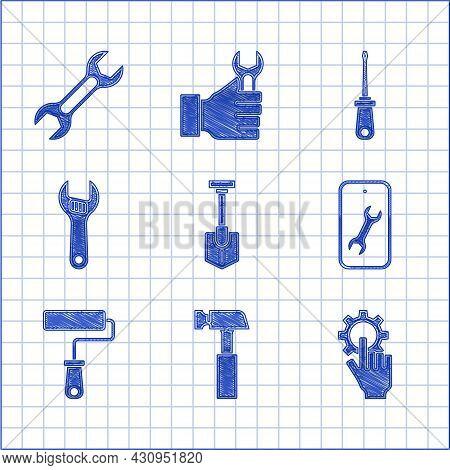 Set Shovel, Hammer, Settings In The Hand, Mobile Service, Paint Roller Brush, Adjustable Wrench, Scr