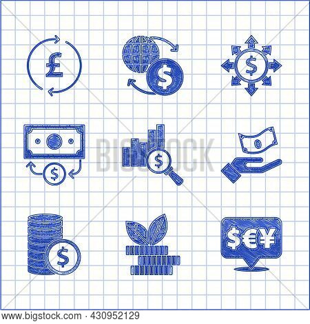 Set Pie Chart And Dollar, Dollar Plant, Currency Exchange, Hand Holding Money, Coin With, Stacks Pap
