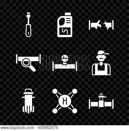 Set Screwdriver, Drain Cleaner Bottle, Broken Pipe, Water Filter, Tap, Industry And Valve, Metallic