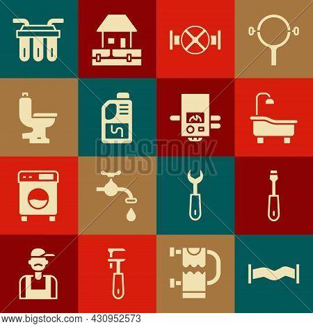 Set Industry Metallic Pipe, Screwdriver, Bathtub, And Valve, Drain Cleaner Bottle, Toilet Bowl, Wate