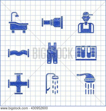 Set Work Overalls, Shower, Test Tube With Water Drop, Industry Metallic Pipe, Plumber And Bathtub Ic